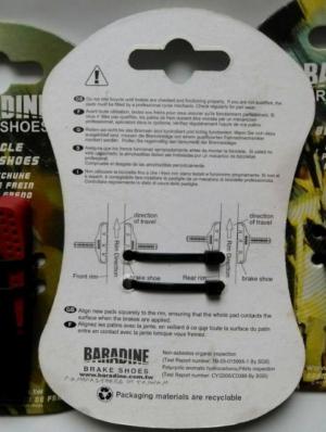 Колодки тормозные Baradine V-Brake Shoes MTB-959VCR